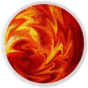 Dancing Flames Abstract  Round Beach Towel