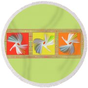Dancing Flower Trio Round Beach Towel