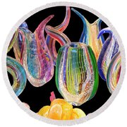 Dancing Glass Objects Round Beach Towel