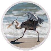 Dancing Heron #1/3 Round Beach Towel