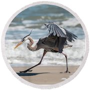Dancing Heron Triptych Round Beach Towel