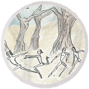 Dancing In The Mountain Round Beach Towel