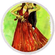 Dancing In The Showlights Round Beach Towel