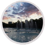 Dancing Jets And Music Sunset - Plovdiv Singing Fountains Round Beach Towel