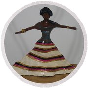 Dancing Lady Round Beach Towel