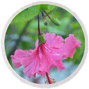 Dancing Lady Pink Hibiscus Round Beach Towel