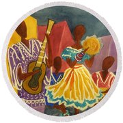 Dancing N Jammin In The Street  Abstract  Round Beach Towel