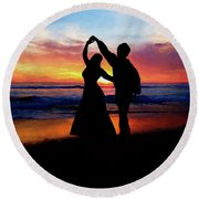 Dancing On The Beach - Painting Round Beach Towel
