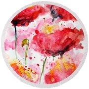 Dancing Poppies Galore Watercolor Round Beach Towel