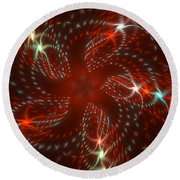Dancing Red Flower Star In Motion Round Beach Towel