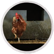 Dancing Rooster Round Beach Towel