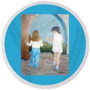 Dancing Sisters Round Beach Towel