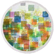 Dancing Squares Round Beach Towel