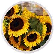 Dancing Sunflowers Round Beach Towel