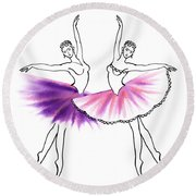 Dancing Tutus In Purple And Pink Round Beach Towel