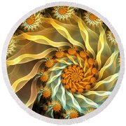 Dancing With Daisies Round Beach Towel