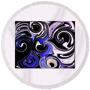 Dancing With The Swans Abstract Round Beach Towel