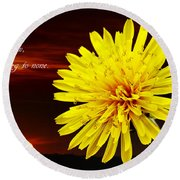 Dandelion Against Sunset With Inspirational Text Round Beach Towel