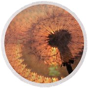 Dandelion Illusion Round Beach Towel