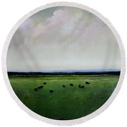 Dandelion Pastures Round Beach Towel by Toni Grote