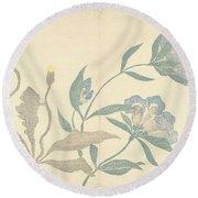 Dandelions And Blue Flowers, Nakamura Hochu, 1826 Round Beach Towel