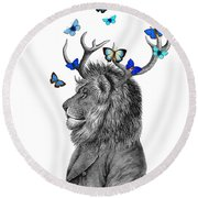 Dandy Lion With Antlers And Blue Butterflies Round Beach Towel