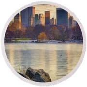Danger - Thin Ice Round Beach Towel