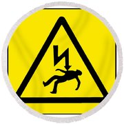 Danger Electricity Round Beach Towel
