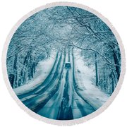 Dangerous Slippery And Icy Road Conditions Round Beach Towel