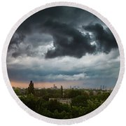 Dangerous Stormy Clouds Over Warsaw Round Beach Towel