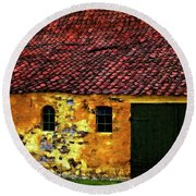Danish Barn Watercolor Version Round Beach Towel by Steve Harrington