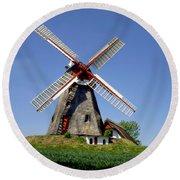 Danish Windmill Round Beach Towel