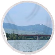 Danube River Sailor Round Beach Towel