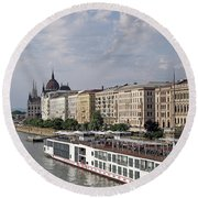 Danube Riverside With Old Buildings Budapest Hungary Round Beach Towel