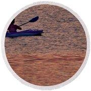 Danvers River Kayaker Round Beach Towel