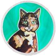 Daphne The Calico Cat Round Beach Towel