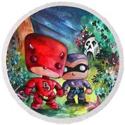 Funkos Daredevil And The Phantom In The Jungle Round Beach Towel