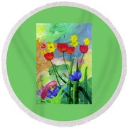 Daria's Flowers Round Beach Towel
