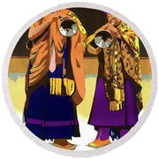 Darjeeling, Lama Dance Musicians, India Round Beach Towel