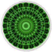 Dark And Light Green Mandala Round Beach Towel