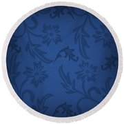 Dark Blue Floral Round Beach Towel