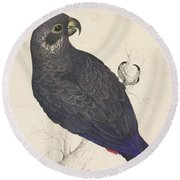Dark Blue Parrot Round Beach Towel