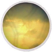 Dark Clouds Above The Sunny Clouds Round Beach Towel