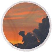 Dark Clouds At Sunset  Round Beach Towel