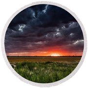 Dark Clouds At Sunset Round Beach Towel