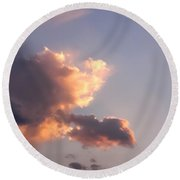 Dark Clouds Fringed With Light Round Beach Towel