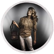 Dark Fashion Style With Fashionable Bag Accessory Round Beach Towel