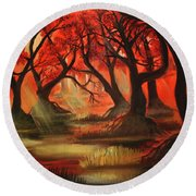 Dark Forest Round Beach Towel