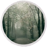 Dark Gloomy Alley In Woods Round Beach Towel