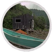 Dark Harbour Fisherman Shack And Boat Round Beach Towel